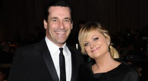 BEVERLY HILLS, CA - FEBRUARY 19: Actor Jon Hamm and actress Amy Poehler attends the 15th Annual Costume Designers Guild Awards with presenting sponsor Lacoste at The Beverly Hilton Hotel on February 19, 2013 in Beverly Hills, California. (Photo by Stefanie Keenan/Getty Images for CDG)
